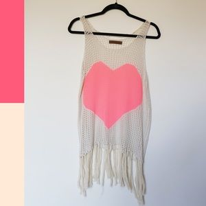 The Classic | Heart Crochet Tank with Fringe SZ L